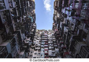 青, hong, アパート, kong, sky.