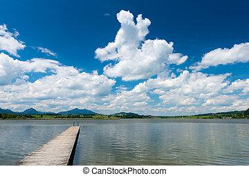 青, hopfen, 雲, 木製である, 空, 湖, 見なさい、, 板張り遊歩道
