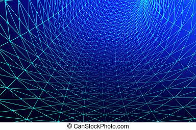 青, illustration., カーブ, lines., 背景, デザイン, 建築, ファサド, 3d