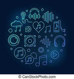 青, illustration., シンボル, ベクトル, 音楽, 線, 円形の回状