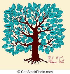 青, illustration:, ベクトル, 木