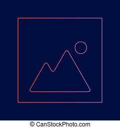 青, illustration., 勾配, イメージ, 印, 暗い, バックグラウンド。, 色, vector., すみれ, 線, 赤, アイコン