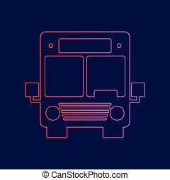 青, illustration., 勾配, バス, 印, 暗い, バックグラウンド。, 色, vector., すみれ, 線, 赤, アイコン