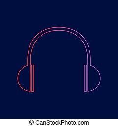 青, illustration., 勾配, ヘッドホン, 印, 暗い, バックグラウンド。, 色, vector., すみれ, 線, 赤, アイコン