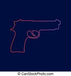 青, illustration., 勾配, 銃, 印, 暗い, バックグラウンド。, 色, vector., すみれ, 線, 赤, アイコン