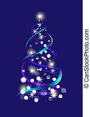 青, illustration., 抽象的, 木, ベクトル, 背景, クリスマス
