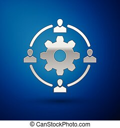 青, investment., 概念, 印。, 隔離された, イラスト, outsourcing, バックグラウンド。, ベクトル, チームワーク, 考え, 協力, 銀, アイコン
