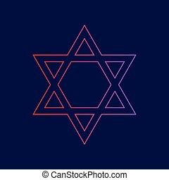 青, israel., magen, 勾配, シンボル, star., david, 暗い, バックグラウンド。, 色, vector., すみれ, 線, アイコン, 赤, 保護