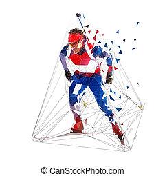 青, jersey., 隔離された, イラスト, biathlon, polygonal, ベクトル, 低い, スキー, スキーヤー