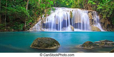 青, kanjanaburi, 滝, 流れ, タイ, 森林