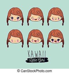 青, kawaii, わずかしか, セット, 背景, 美顔術, 女の子, 表現