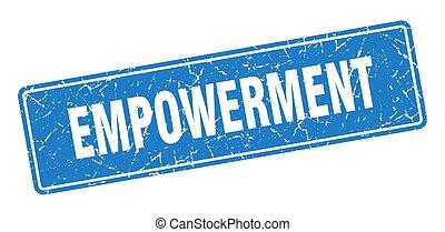 青, label., empowerment, 型, 印, stamp.