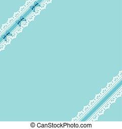 青, lace., リボン, 背景, 弓