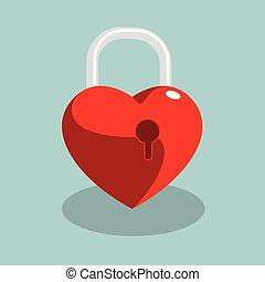 青, lock., 心の形をしている, 隔離された, バックグラウンド。