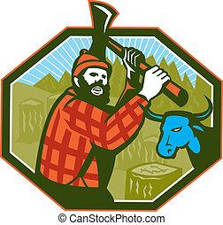 青, lumberjack, おの, 牛, bunyan, ポール