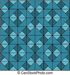 青, mosaic., 幾何学的, pattern., seamless