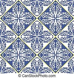 青, pattern., セラミック, 地中海, 伝統的である, アラベスク, タイル, 白, tile.