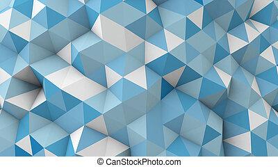 青, polygonal, 幾何学的, 表面, 3d