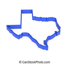 青, representation., 地域, map., 州, 領土, テキサス, 3d