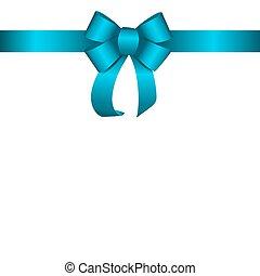 青, ribbon., ベクトル, 贈り物, イラスト