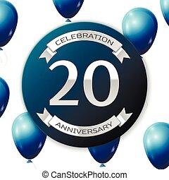 青, ribbon., illustration., バックグラウンド。, 20, 数, 記念日, ペーパー, 現実的, ベクトル, リボンバナー, 白, 年, 風船, 円, 銀, 祝福