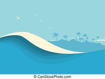 青, seascape., 背景, 空, 海洋, ベクトル, 海, 波, 波