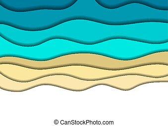 青, shadows., 切口, レイアウト, card., ポスター, 抽象的, 背景, 挨拶, ベクトル, 海岸, ペーパー, 海, 波, 旗, illustration., 旗, 砂, 3d