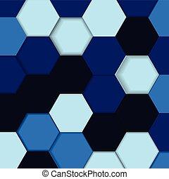 青, shadows., 抽象的, 六角形, ベクトル, 背景