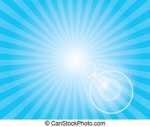 青, sky., 太陽, flare., レンズ, パターン, sunburst