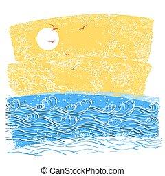 青, sky., 抽象的, イラスト, ベクトル, 海, 波, 風景