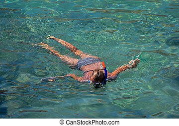 青, snorkelling, 明確な 水, 寒い, 楽しむ