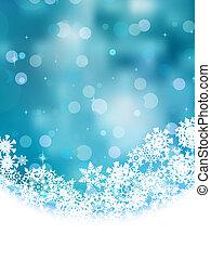 青, snowflakes., eps, 背景, 8