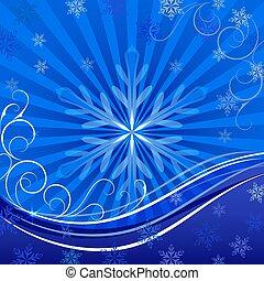 青, space., クリスマス, ベクトル, 背景, コピー, 雪片
