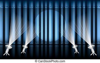 青, spotlights., ステージ, 劇場, カーテン