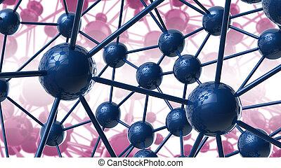 青, structure., ネットワーク, 科学, 抽象的, カオス, イラスト, レンダリング, 接続, 背景, すみれ, 幾何学的, 分子, 技術, hi-tech, 3d