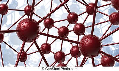 青, structure., ネットワーク, 科学, 抽象的, カオス, イラスト, レンダリング, 接続, 背景, 幾何学的, 分子, 技術, hi-tech, 赤, 3d