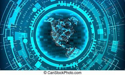 青, structure., network., 技術, 抽象的, システム, バックグラウンド。, 接続, ベクトル, デザイン, デジタル, 電子, 未来派
