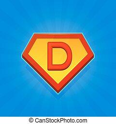青, superhero, d, バックグラウンド。, ベクトル, 手紙, ロゴ, アイコン