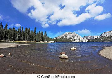 青, tioga 湖, 有名, yosemite