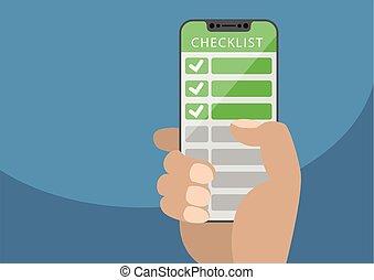 青, touchscreen, 概念, モビール, lists., 緑, チェックリスト, 手, バックグラウンド。, ...