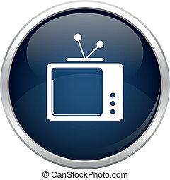 青, tv, 古い, アイコン