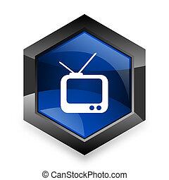 青, tv, 現代, 3d, デザイン, 背景, 白, 六角形, アイコン