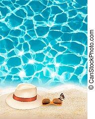 青, vector., 休暇, sunglasses., 背景, 海, 帽子