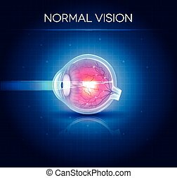 青, vision., 目, 正常, 明るい, 背景