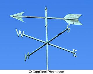青, weathervane, 古い, sky.