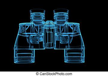 青, x 線, レンダリングした, 双眼鏡, 透明, 3d