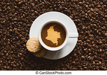 静かな 生命, -, コーヒー, ∥で∥, 地図, の, コロンビア