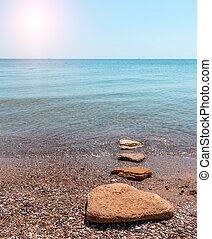 静寂, time., 砂のビーチ, 海岸, 中に, ∥, 朝