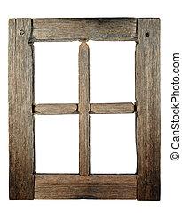 非常に, 古い, grunged, 木製である, 窓