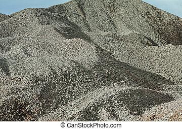 非常に, 大きい, 砂利, 山